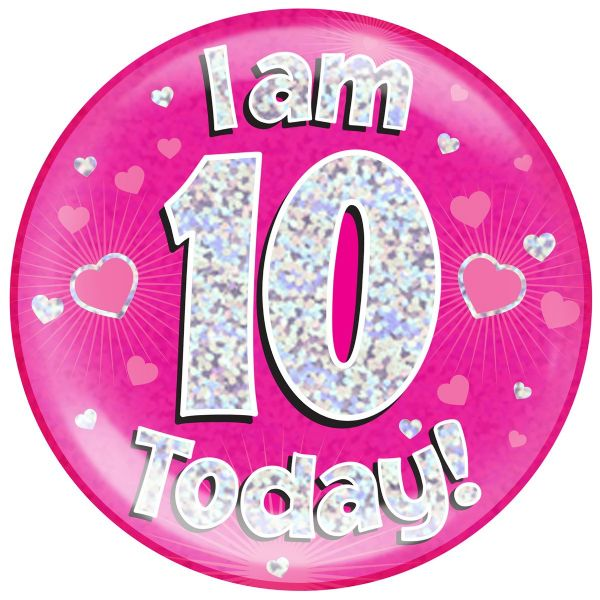 Pink Age No 10 Jumbo Badge